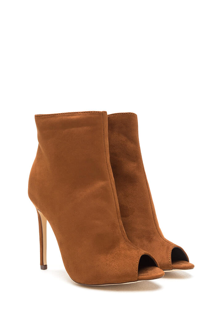 Peep Show Faux Suede Stiletto Booties TAN