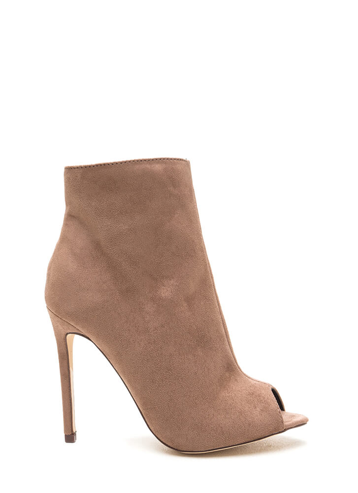 Peep Show Faux Suede Stiletto Booties TAUPE