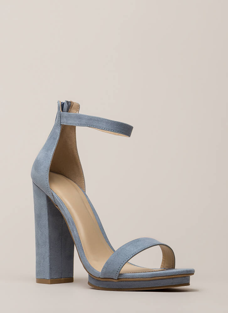 Haute 'N Bothered Strappy Chunky Heels BLUEGREY