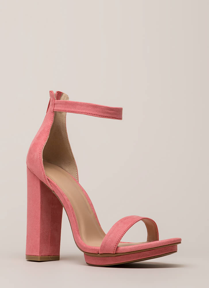 Haute 'N Bothered Strappy Chunky Heels BLUSH