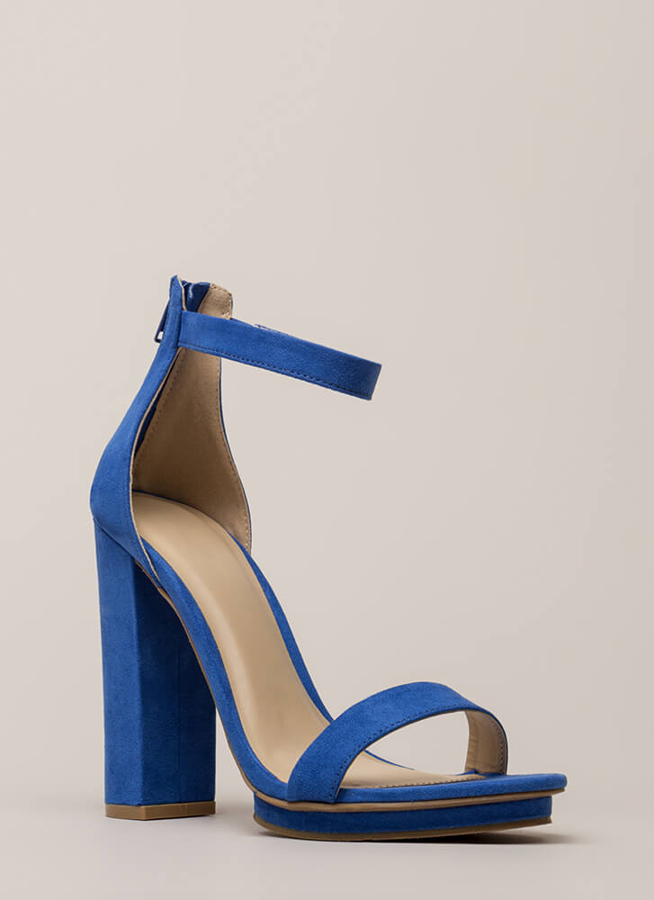 Haute 'N Bothered Strappy Chunky Heels BRIGHCOBALT