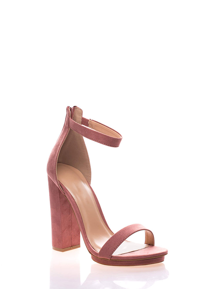 Haute 'N Bothered Strappy Chunky Heels DUSTYPINK (You Saved $16)