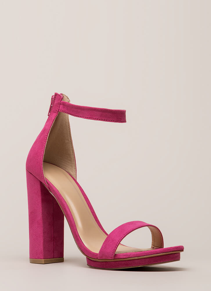 Haute 'N Bothered Strappy Chunky Heels FUCHSIA (You Saved $16)