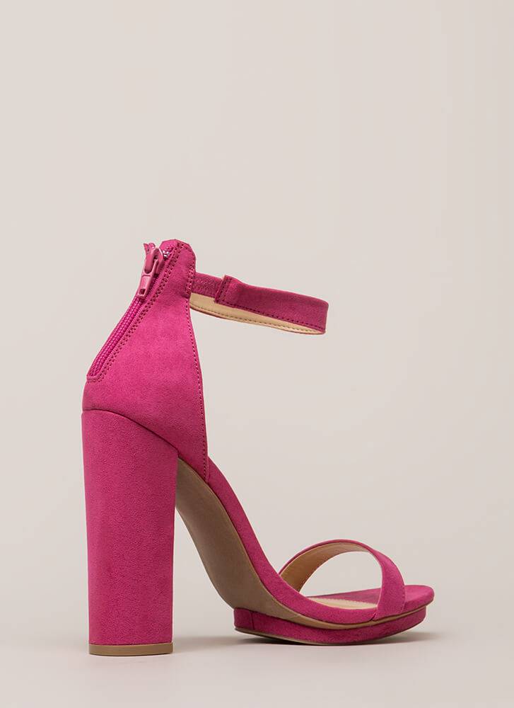 Haute 'N Bothered Strappy Chunky Heels FUCHSIA