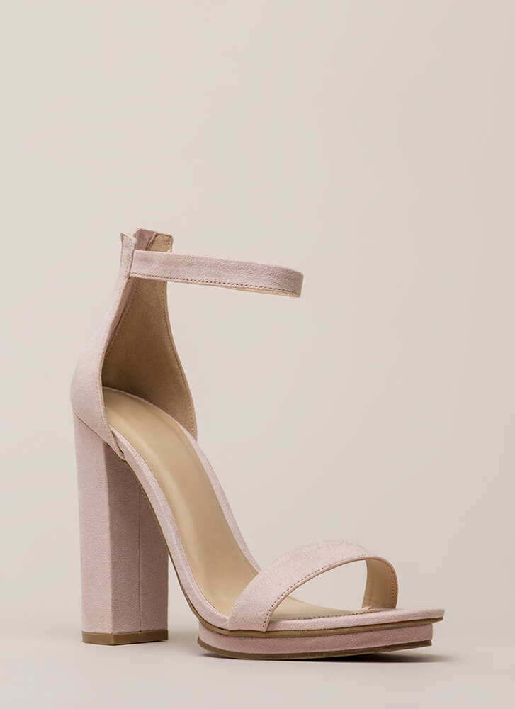 Haute 'N Bothered Strappy Chunky Heels LTBLUSH (You Saved $16)