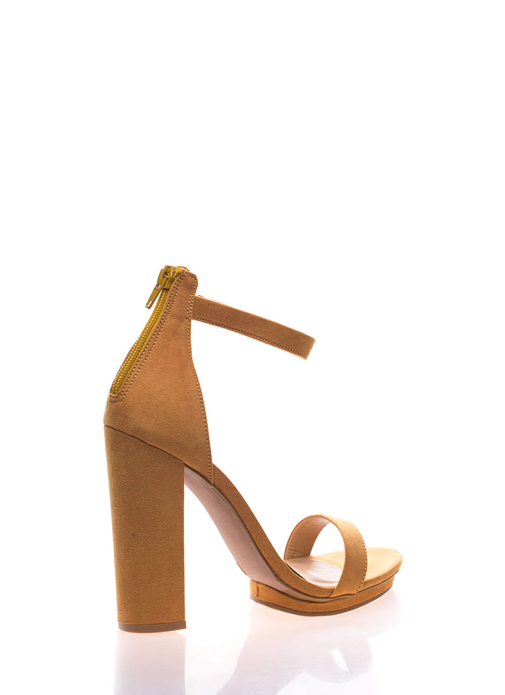 Haute 'N Bothered Strappy Chunky Heels MUSTARD (You Saved $16)