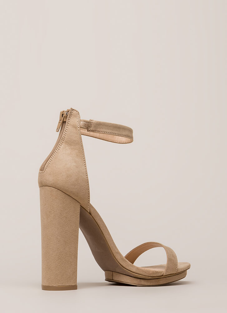 Haute 'N Bothered Strappy Chunky Heels NATURAL (You Saved $16)