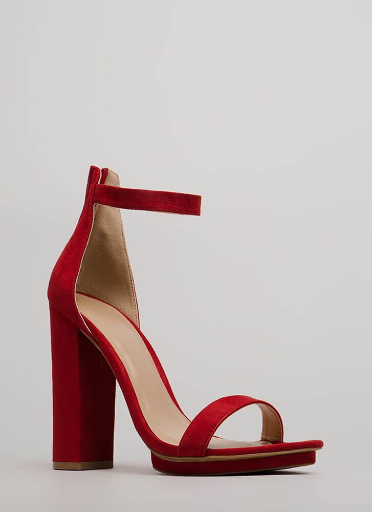 Haute 'N Bothered Strappy Chunky Heels RED