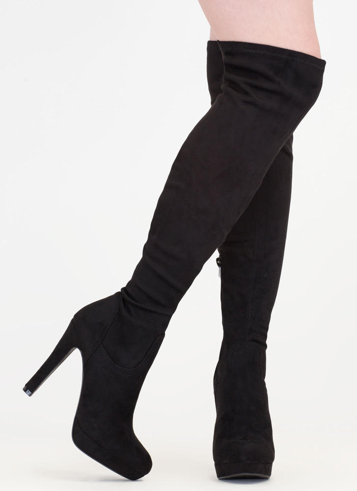 Haute Spot Thigh-High Platform Boots BLACK