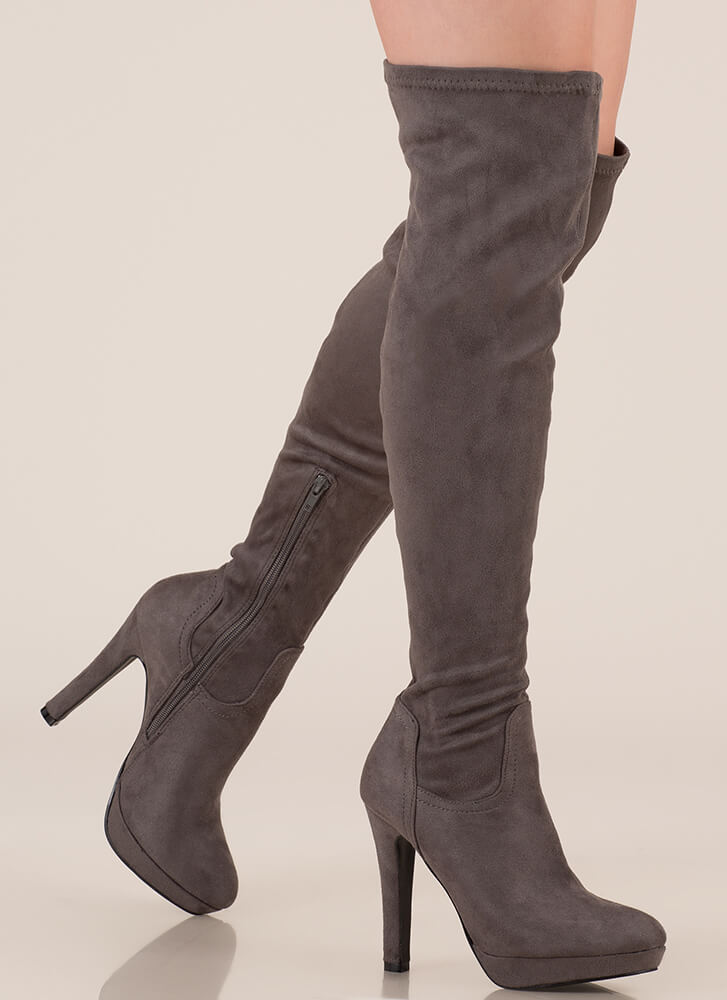 Haute Spot Thigh-High Platform Boots GREY