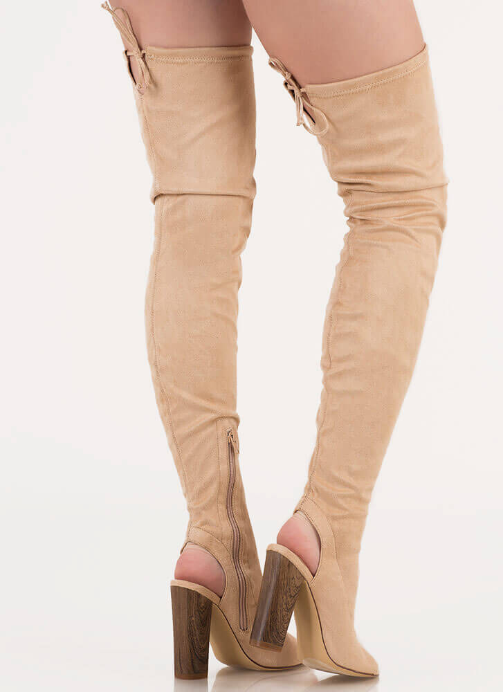 Classy 'N Sassy Chunky Thigh-High Boots NUDE