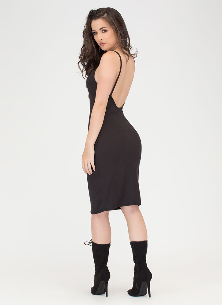 U Gotta Have It Open Back Midi Dress BLACK