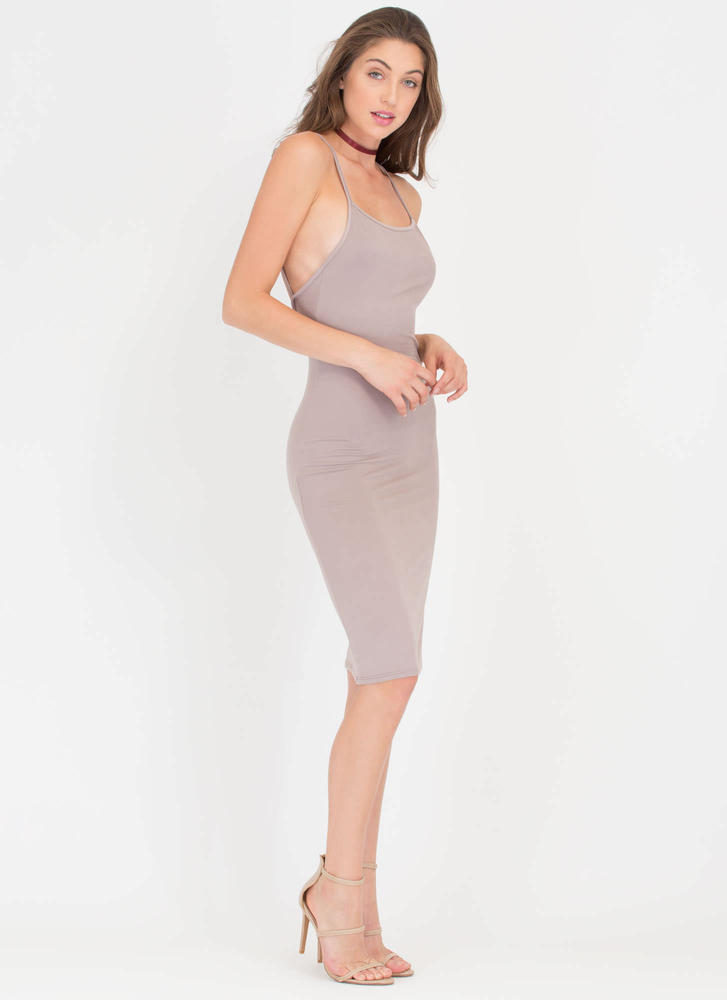 U Gotta Have It Open Back Midi Dress TAUPE