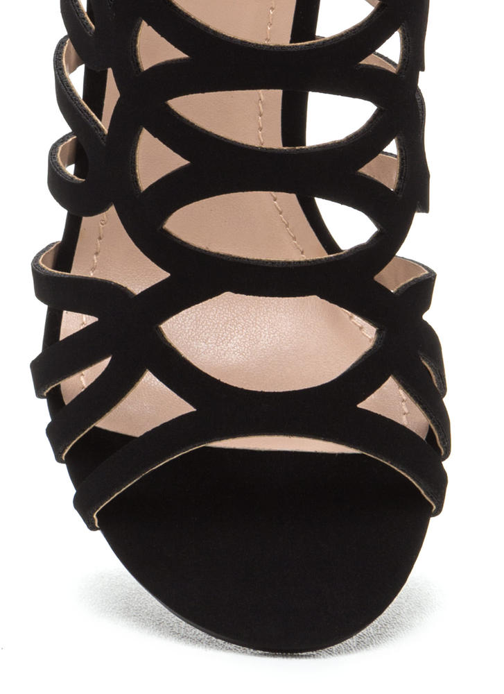 Throw A Curve Caged Faux Nubuck Heels BLACK