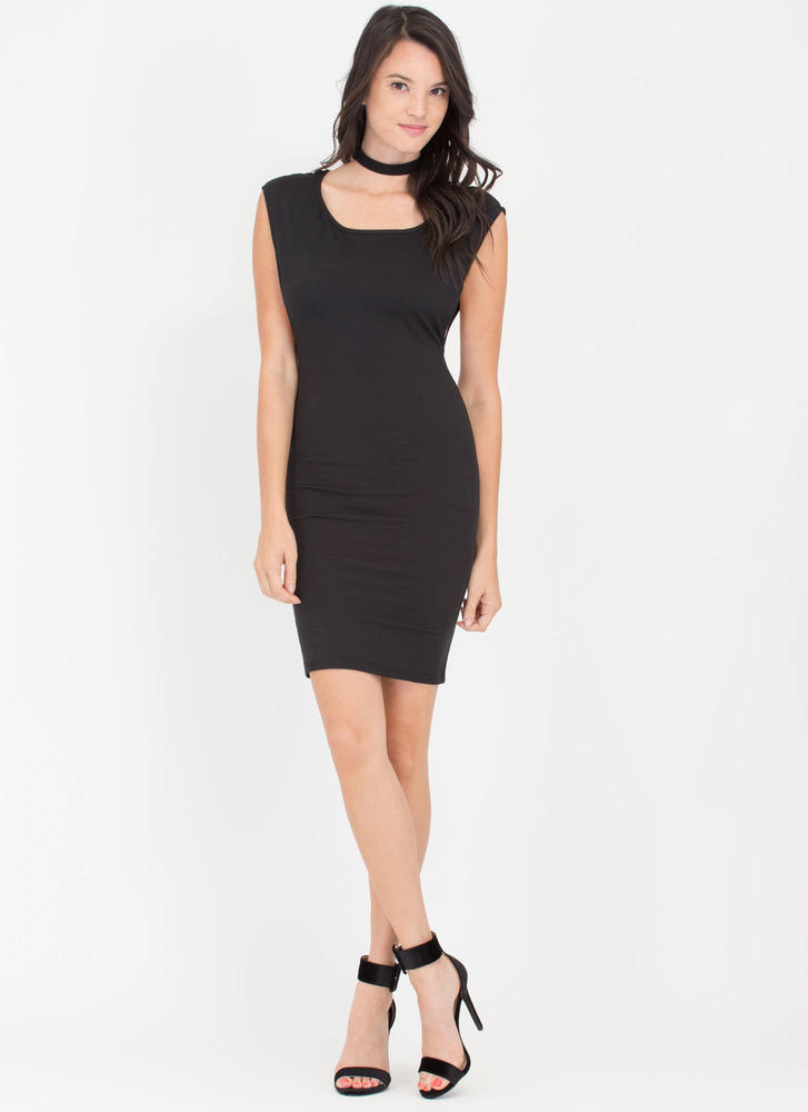 Sides You Up Muscle Tee Midi Dress BLACK