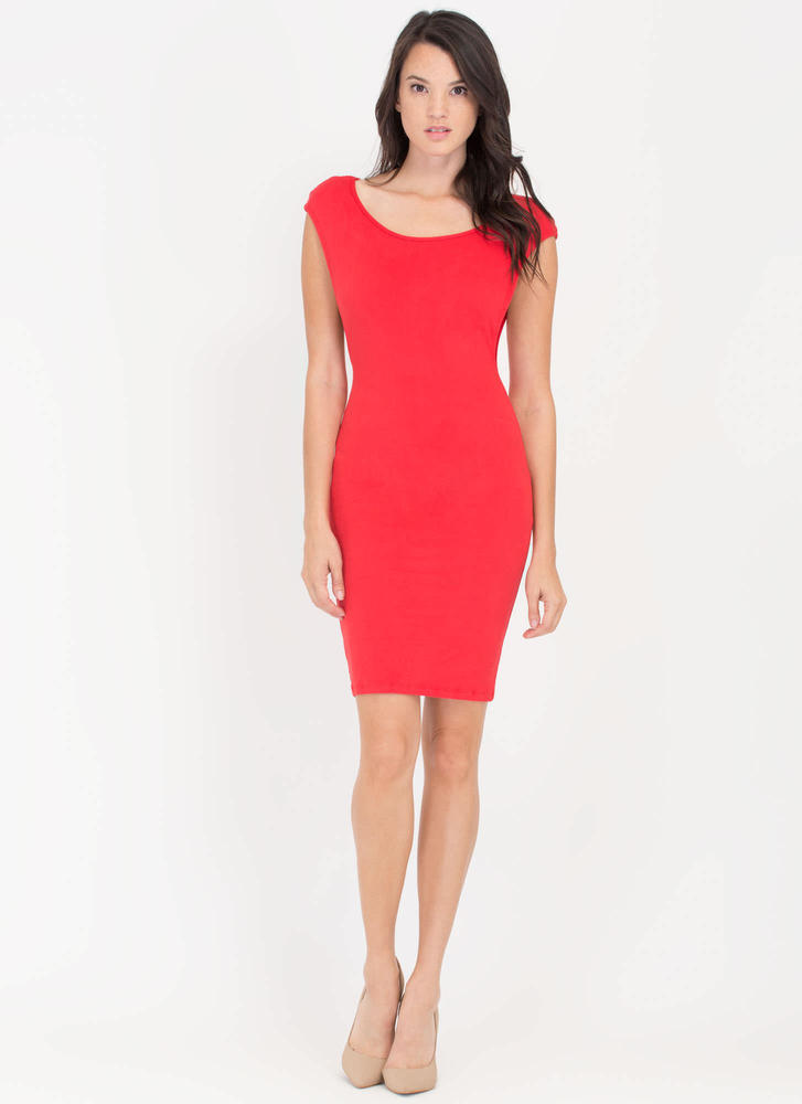 Sides You Up Muscle Tee Midi Dress RED