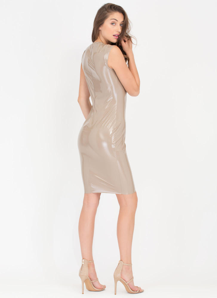 Patent Not Pending Coated Midi Dress NUDE (Final Sale)