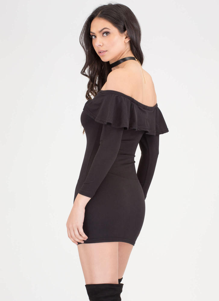 Ruffle Rider Off-The-Shoulder Dress  BLACK
