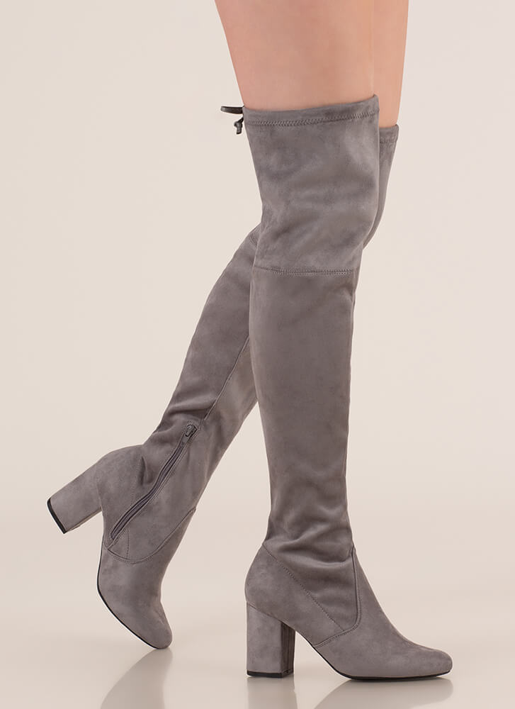 Tie Me Up Chunky Over-The-Knee Boots GREY