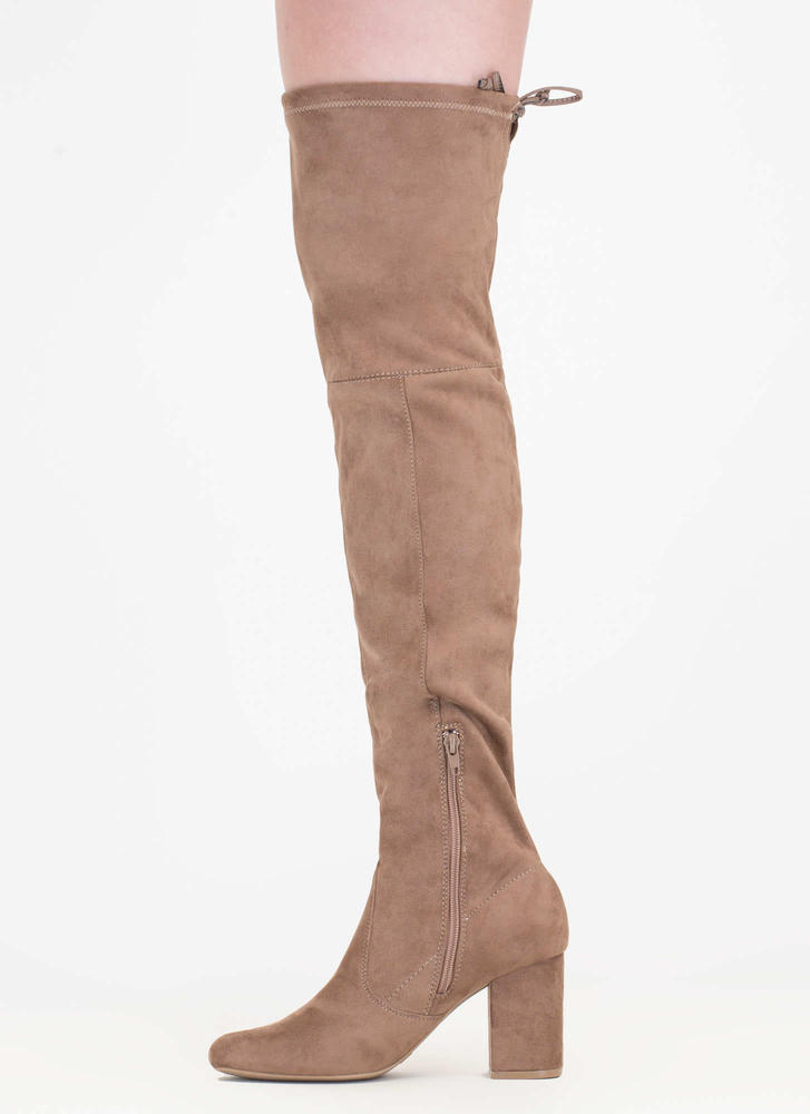 Tie Me Up Chunky Over-The-Knee Boots TAUPE