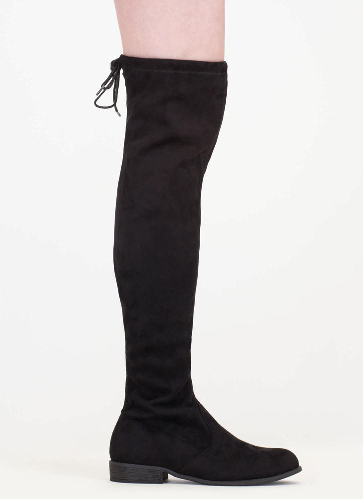 Come On Over-The-Knee Drawstring Boots BLACK