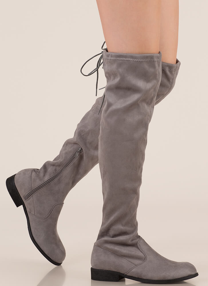 Come On Over-The-Knee Drawstring Boots GREY