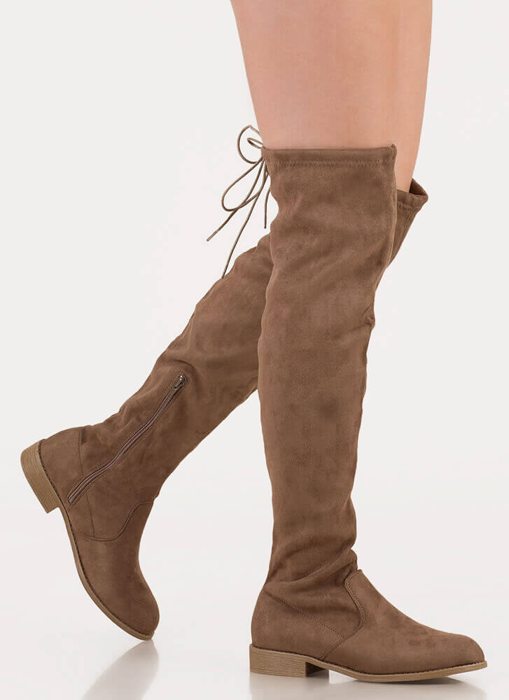 Come On Over-The-Knee Drawstring Boots TAUPE