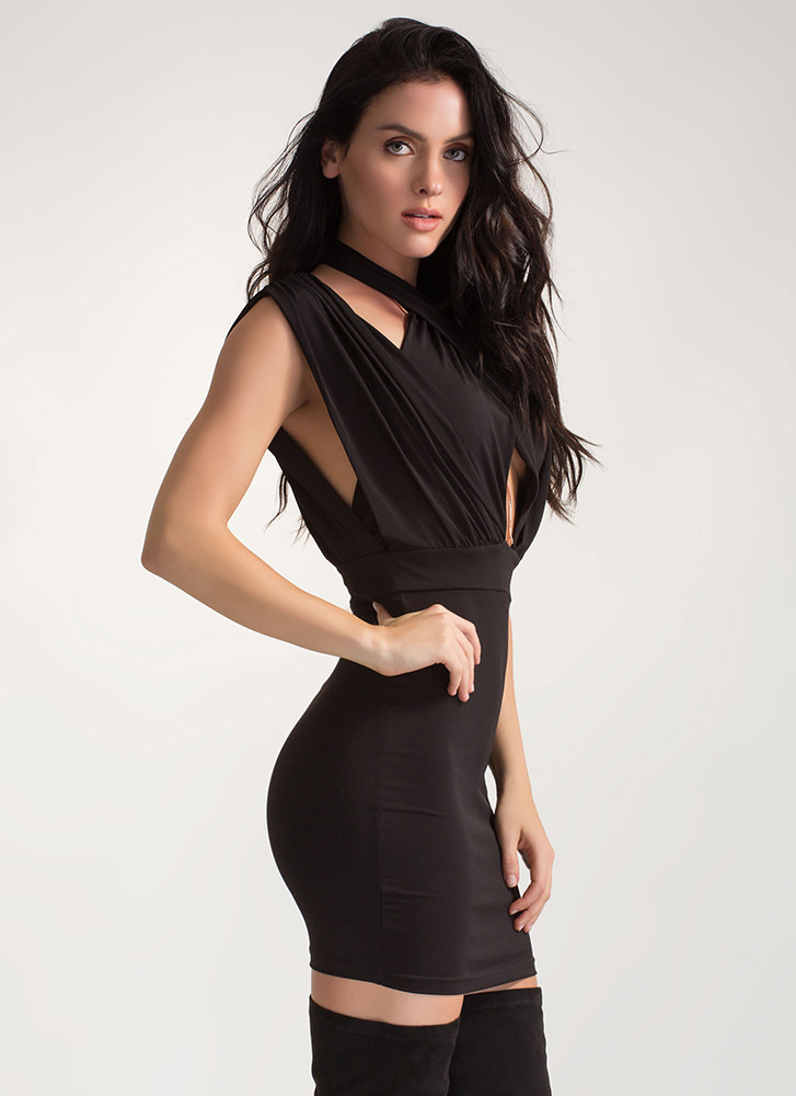 Twist Of Fate Ruched Crisscrossed Dress BLACK (Final Sale)