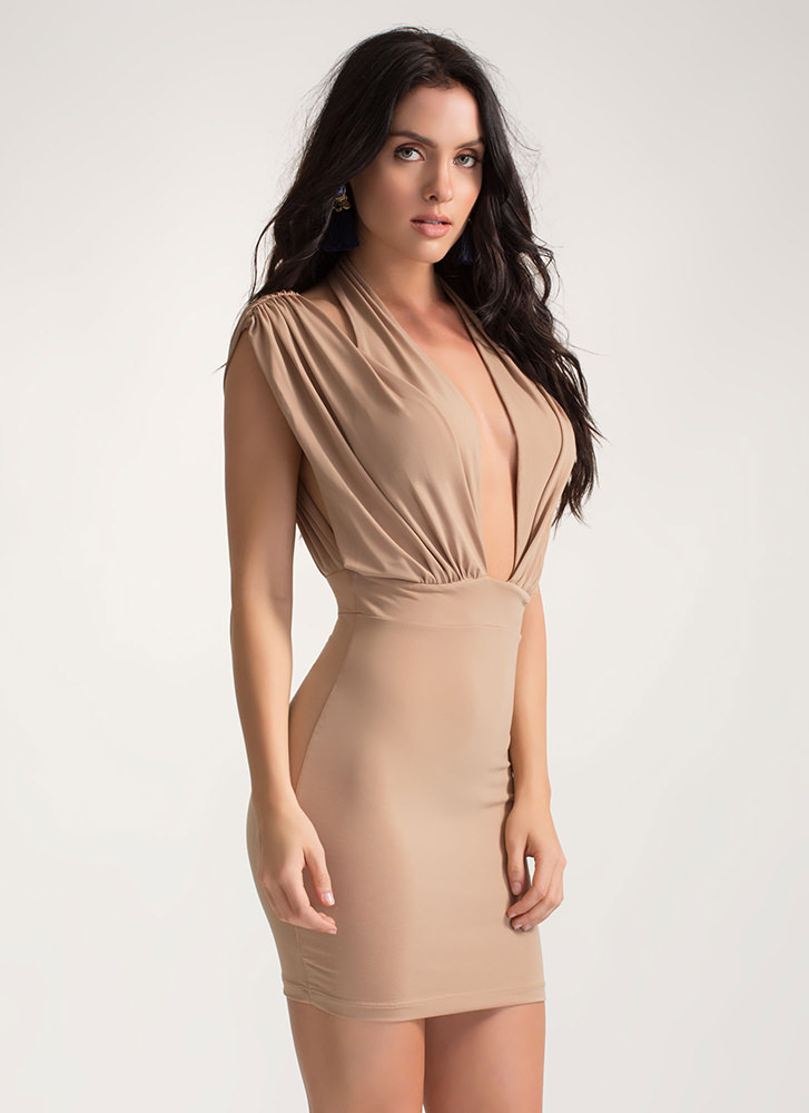 Twist Of Fate Ruched Crisscrossed Dress MOCHA