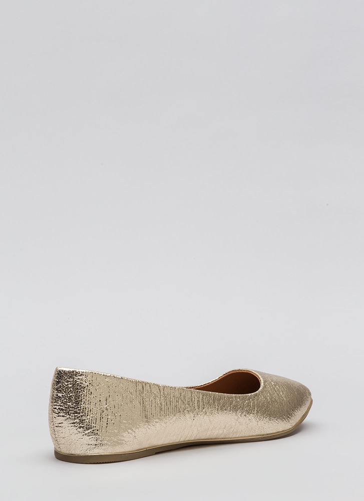 Full Gleam Ahead Pointy Metallic Flats GOLD