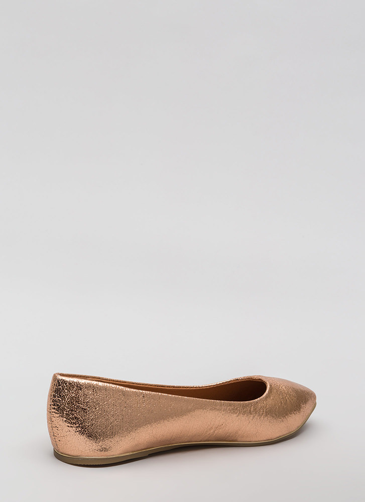 Full Gleam Ahead Pointy Metallic Flats ROSEGOLD