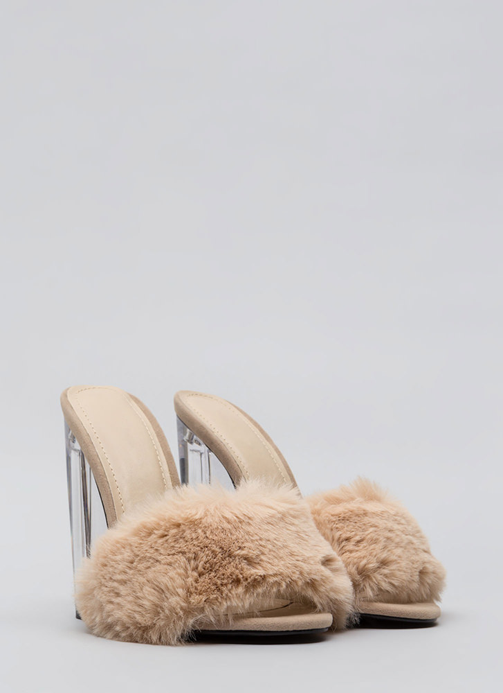 Clear Head Faux Fur Chunky Heels NUDE (Final Sale)