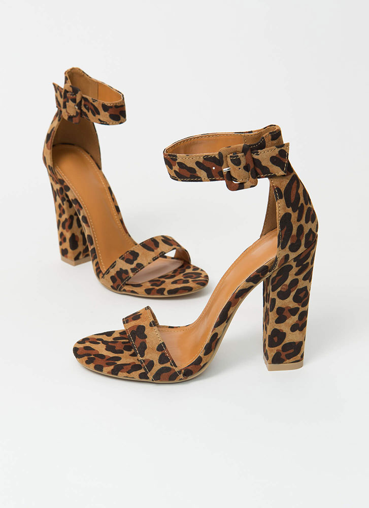 Perfection Chunky Faux Suede Heels LEOPARD