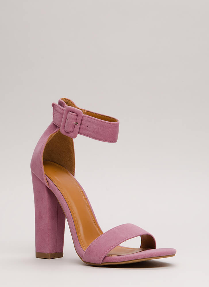 Perfection Chunky Faux Suede Heels MAUVE