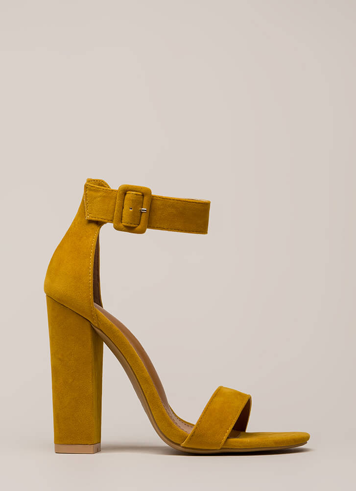 Perfection Chunky Faux Suede Heels MUSTARD