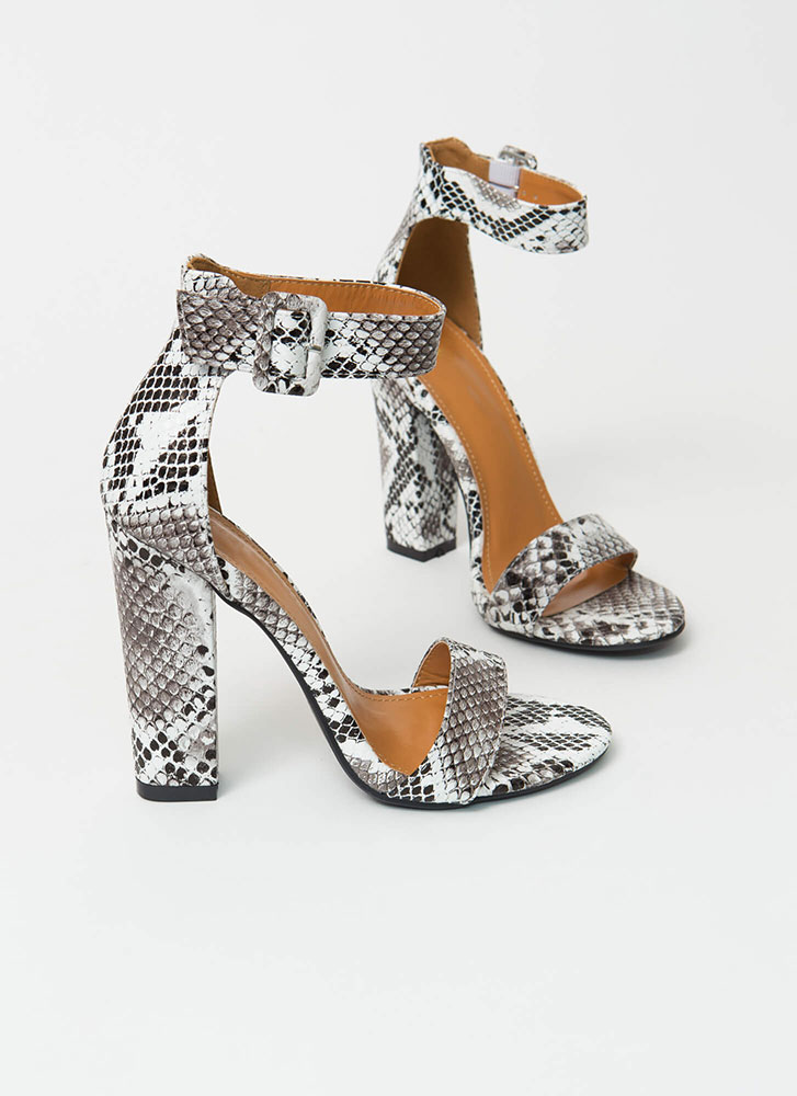 Perfection Chunky Faux Suede Heels SNAKE