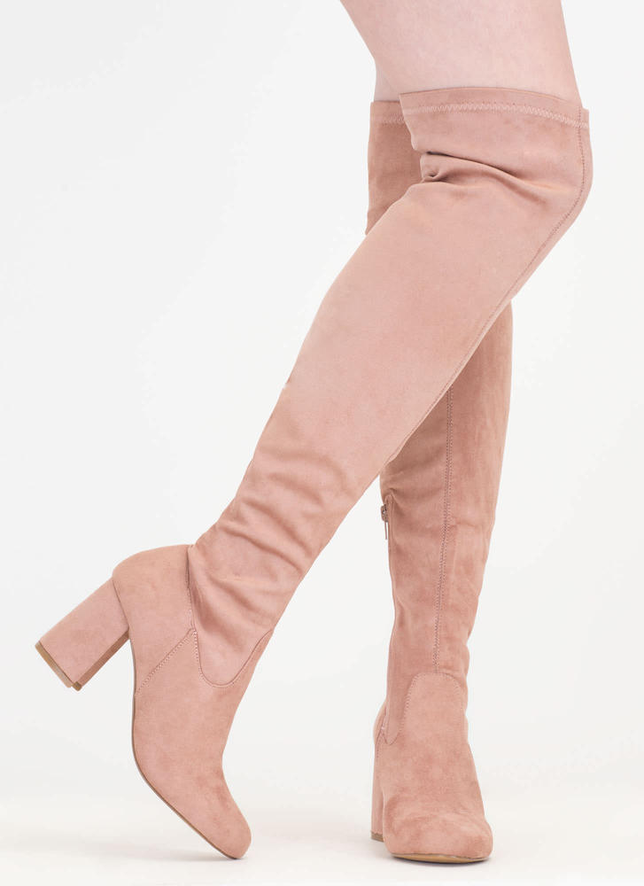 So Blocked Chunky Over-The-Knee Boots MAUVE