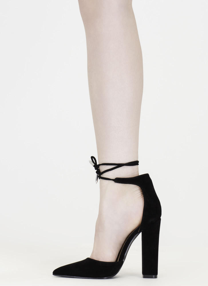 Tied For First Pointy Chunky Heels BLACK