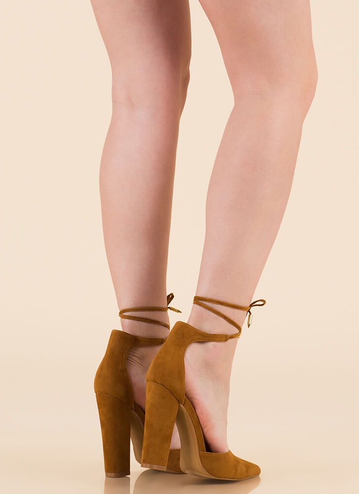Tied For First Pointy Chunky Heels CHESTNUT