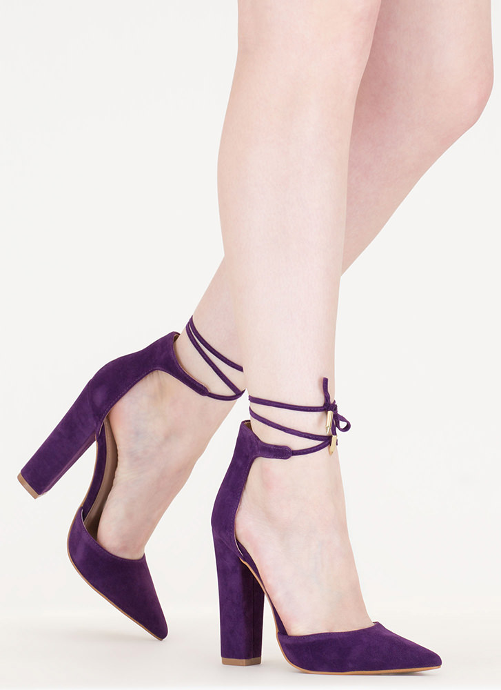 Tied For First Pointy Chunky Heels PURPLE - GoJane.com