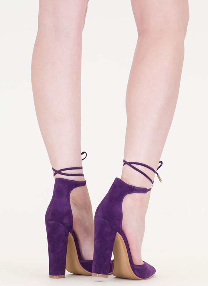 Tied For First Pointy Chunky Heels PURPLE
