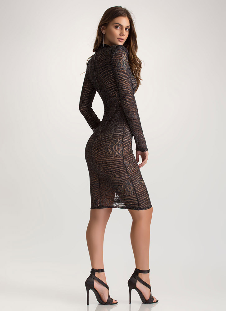 Sheer Luck Metallic Lace Midi Dress BLACK (Final Sale)