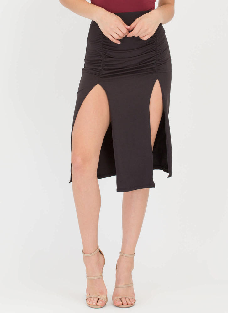 Two For One Ruched Double Slit Skirt BLACK