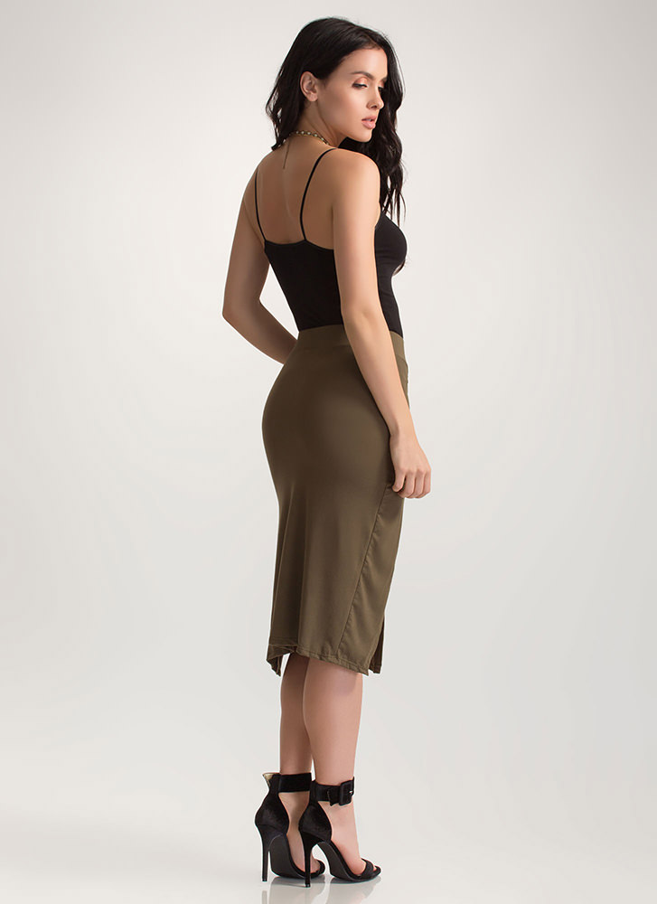 Two For One Ruched Double Slit Skirt OLIVE