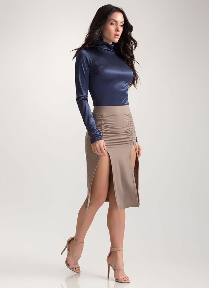 Two For One Ruched Double Slit Skirt TAUPE