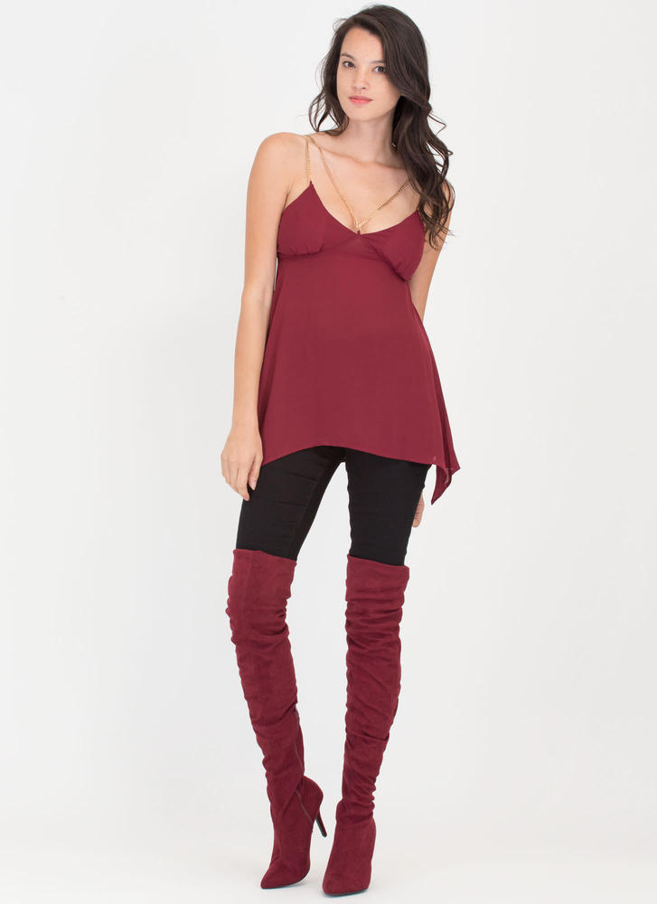 Chain Of Command Cami Handkerchief Tank BURGUNDY (Final Sale)