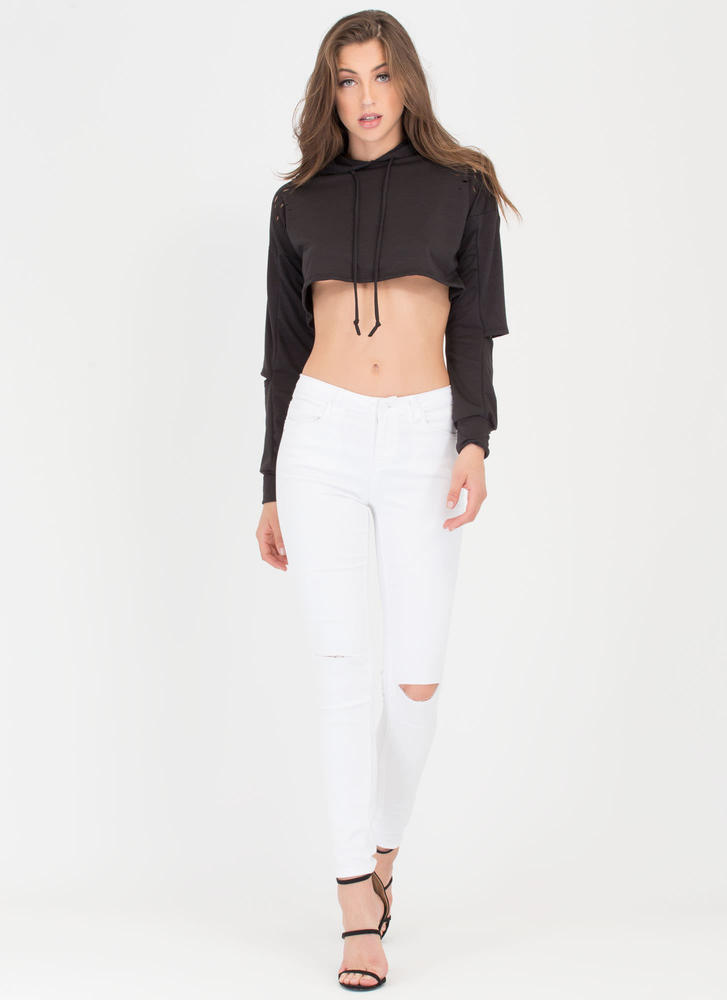 Slit Happens Cropped Cut-Out Hoodie BLACK