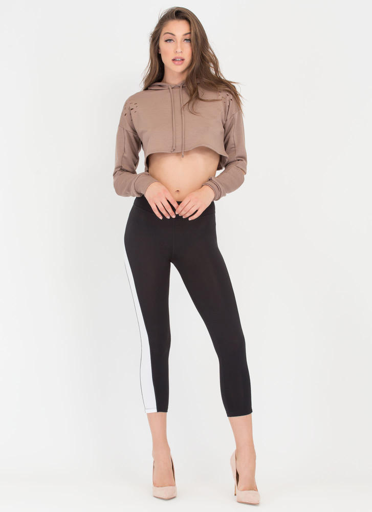Slit Happens Cropped Cut-Out Hoodie MOCHA