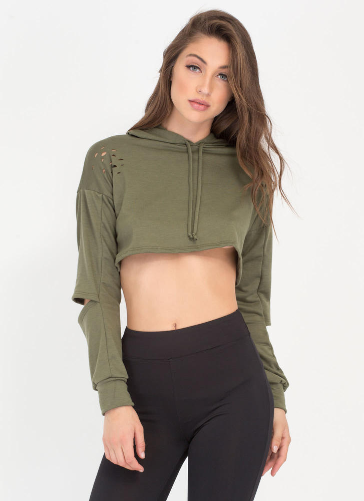 Slit Happens Cropped Cut-Out Hoodie OLIVE