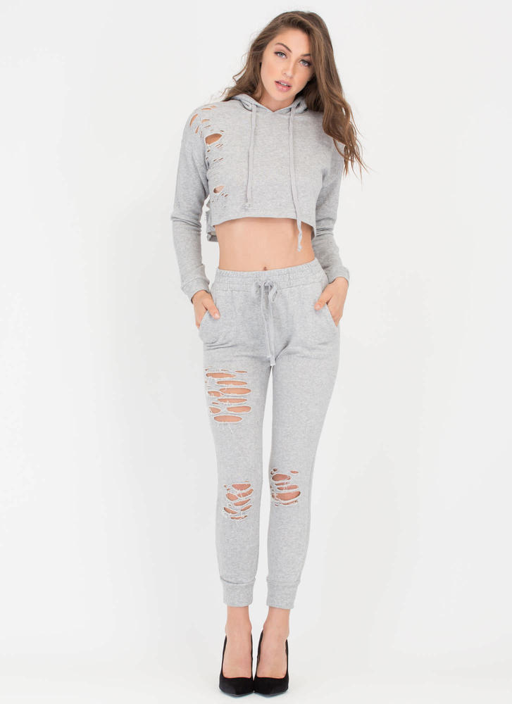 Shred-y Or Not Cropped Hoodie Top HGREY